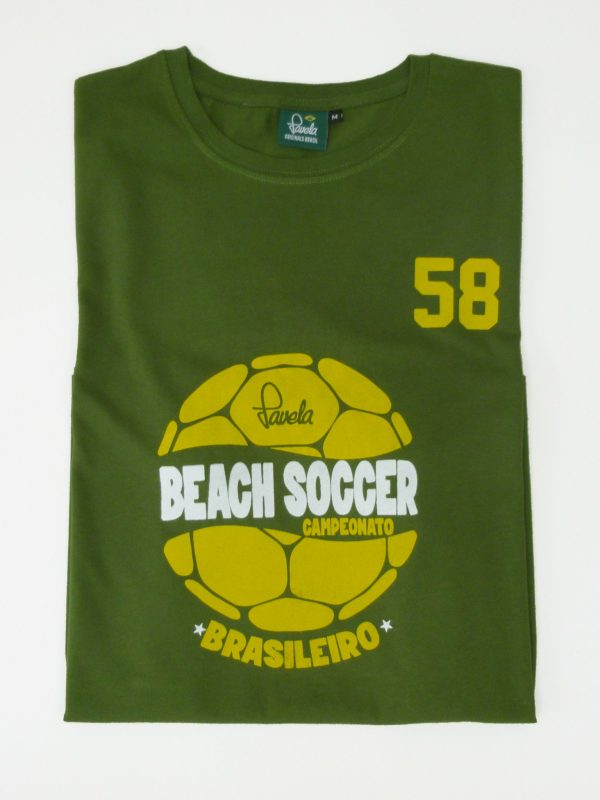 Beach Soccer Brasil Football T-Shirt Folded - Amazon Green