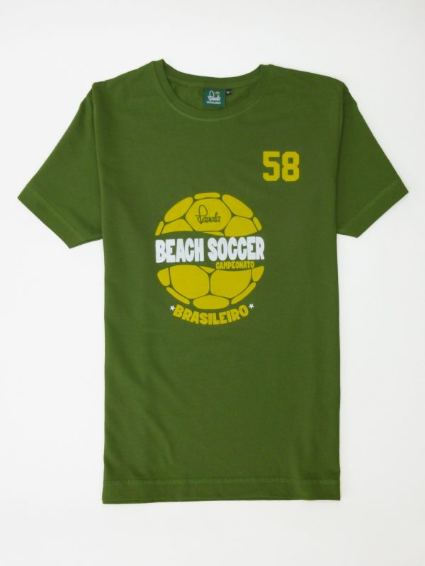 Beach Soccer Brasil Football T-Shirt - Amazon Green