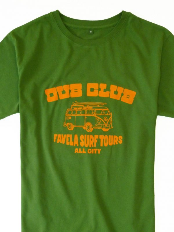 Dub Club Favela Surf Tours T Shirt Crop - Amazon Green