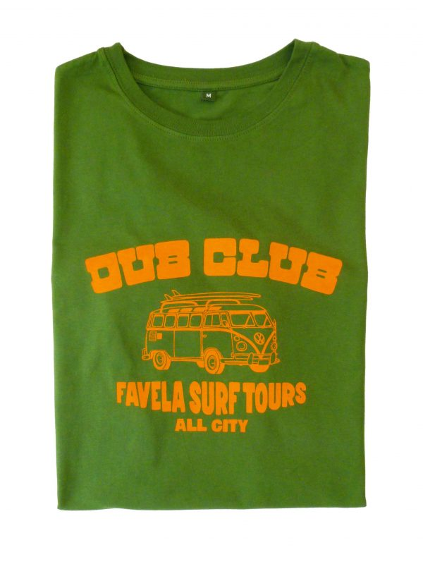 Dub Club Favela Surf Tours T Shirt Folded - Amazon Green
