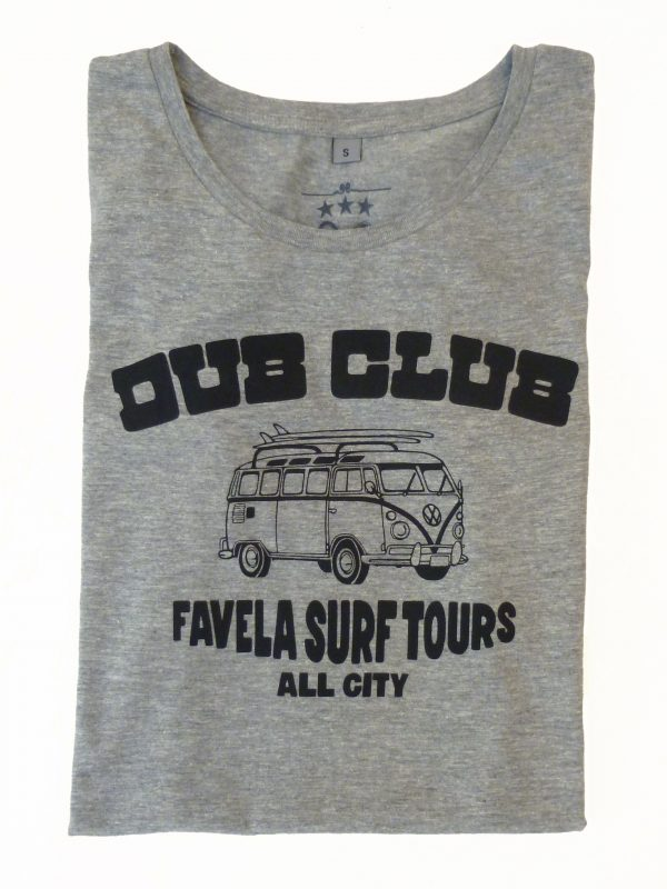 Dub Club Favela Surf Tours Womens T Shirt Folded - Light Grey