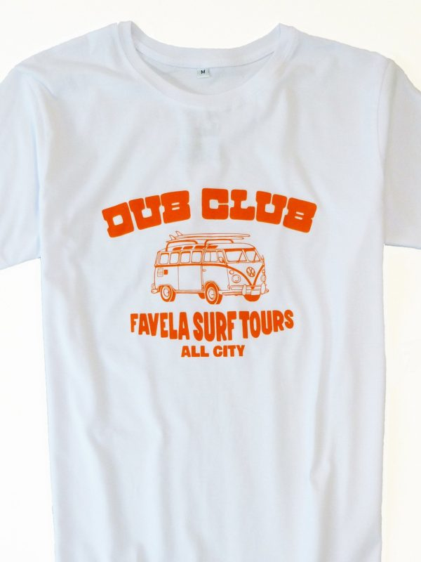 Dub Club Favela Surf Tours T Shirt Crop - White