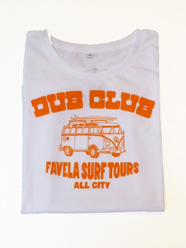 Dub Club Favela Surf Tours Womens T Shirt Folded - White