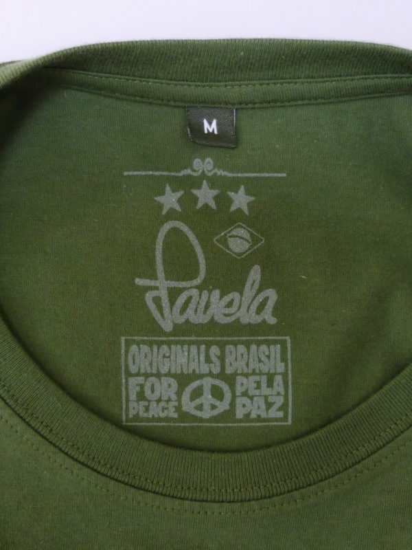 Favela Mens Logo T Shirt Neck Label - Amazon Green