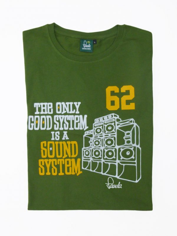 Sound System T-Shirt Folded - Amazon Green